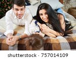 a young family in the apartment ... | Shutterstock . vector #757014109