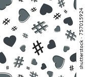 hashtag and heart seamless... | Shutterstock .eps vector #757015924
