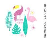 tropical design with flamingo ... | Shutterstock .eps vector #757019350
