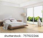 modern bright bed room ... | Shutterstock . vector #757022266