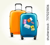 plastic wheeled suitcases  ... | Shutterstock .eps vector #757025836
