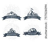 mountain peaks labels and... | Shutterstock .eps vector #757026094