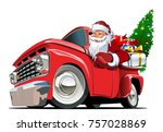cartoon retro christmas... | Shutterstock .eps vector #757028869