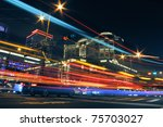 Colorful city night with lights of cars motion blurred in Taipei, Taiwan, Asia. - stock photo