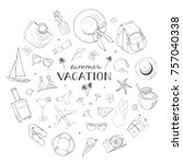 vacation background. linear... | Shutterstock .eps vector #757040338