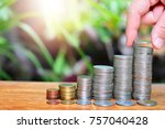 coins saving increase to profit ... | Shutterstock . vector #757040428