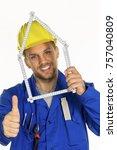 craftsman with helmet | Shutterstock . vector #757040809