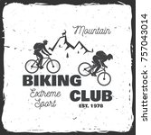 mountain biking club. vector... | Shutterstock .eps vector #757043014