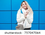 fashion happy young woman in... | Shutterstock . vector #757047064
