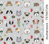christmas dogs doodle seamless... | Shutterstock .eps vector #757047196