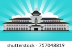building   gedung sate is west... | Shutterstock .eps vector #757048819