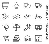thin line icon set   delivery ... | Shutterstock .eps vector #757054504