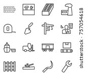 thin line icon set   battery ... | Shutterstock .eps vector #757054618