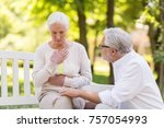old age  health problem and... | Shutterstock . vector #757054993