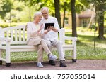 old age  technology and people... | Shutterstock . vector #757055014