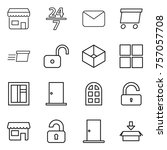 thin line icon set   shop  24 7 ... | Shutterstock .eps vector #757057708