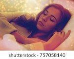 night  rest  comfort and people ... | Shutterstock . vector #757058140