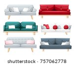 set of sofas with pillows... | Shutterstock .eps vector #757062778