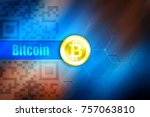 bitcoin symbol on the gold coin ... | Shutterstock . vector #757063810
