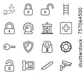 thin line icon set   chemical... | Shutterstock .eps vector #757064500