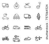 thin line icon set   truck ... | Shutterstock .eps vector #757064524