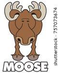 curious cartoon moose is... | Shutterstock .eps vector #757073674