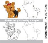 drawing worksheet for preschool ... | Shutterstock .eps vector #757074328