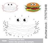 funny hamburger. dot to dot... | Shutterstock .eps vector #757075648