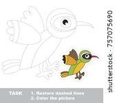 funny green bird xantus. dot to ... | Shutterstock .eps vector #757075690