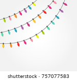 strings of colorful decorative... | Shutterstock .eps vector #757077583