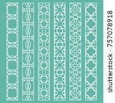 vector set of line borders with ... | Shutterstock .eps vector #757078918