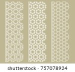 vector set of line borders with ... | Shutterstock .eps vector #757078924