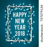 happy new year 2018 poster with ... | Shutterstock . vector #757079134