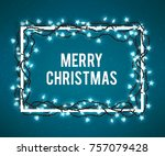 merry christmas poster with... | Shutterstock . vector #757079428