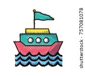 doodle ship transportation with ... | Shutterstock .eps vector #757081078