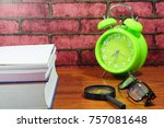 books  desk clock  glasses and... | Shutterstock . vector #757081648
