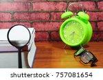 books  desk clock  glasses and... | Shutterstock . vector #757081654