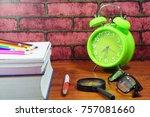 books  desk clock  glasses and... | Shutterstock . vector #757081660