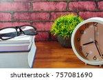 books  desk clock  glasses and... | Shutterstock . vector #757081690