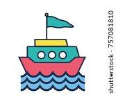 ship transportation with flag... | Shutterstock .eps vector #757081810