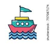 ship transportation with flag... | Shutterstock .eps vector #757087174