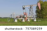 operating oil and gas well in... | Shutterstock . vector #757089259