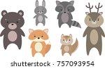 cute puffy animals | Shutterstock .eps vector #757093954