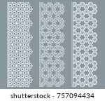 vector set of line borders with ... | Shutterstock .eps vector #757094434