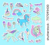 unicorn multicolor stickers... | Shutterstock .eps vector #757095430