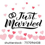hand drawn just married custom... | Shutterstock .eps vector #757096438