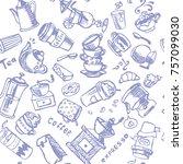 coffee seamless vector ornament ... | Shutterstock .eps vector #757099030