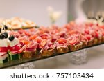serving of a wedding table  | Shutterstock . vector #757103434