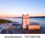 aerial view on the belem tower... | Shutterstock . vector #757106764