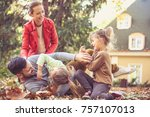 mommy and sisters tickling...   Shutterstock . vector #757107013
